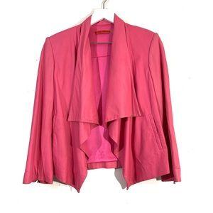 Alice + Olivia Leather Draped Front Pink Jacket